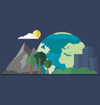 nature and architecture on background planet vector image