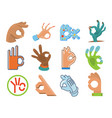 ok hand human sign okey yes agreement signal vector image