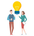 people discussing create idea light bulb vector image vector image