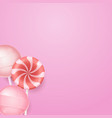 pink background with yummy lollipops and candies vector image vector image