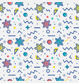 seamless pattern with snowflakes memphis style vector image