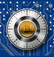 security of the safe with golden bitcoin on vector image vector image