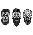 set bearded mexican sugar skulls with pattern vector image vector image