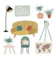 set cool interior design house furniture vector image vector image