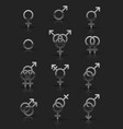 set of silver sexuality icons vector image