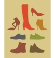 Silhouettes of different footwear tipes vector image vector image