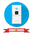 Smart refrigerator or fridge with lcd display vector image