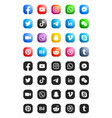 social media modern ios 3d icons set vector image
