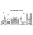 switzerland zurich architecture line skyline vector image vector image