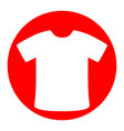 t-shirt sign white icon in red circle on vector image vector image