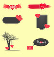 valentines day set of symbolscalligraphy vector image