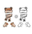 winter bear hat scarf and mittens vector image