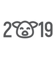 2019 pig year line icon celebration vector image vector image