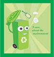 a cartoon representing a funny recycling bin vector image