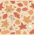autumn pattern with oak maple leaves acorns vector image vector image