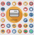bank flat digital icon set vector image