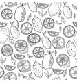 black and white fruit seamless pattern with lemons vector image vector image