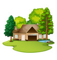 brick house in the lawn vector image vector image