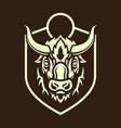 buffalo head silhouette on shield vector image vector image