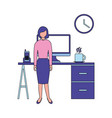 business woman with desk computer clock vector image