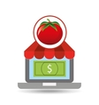 buying online tomato vegetable icon vector image vector image