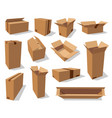 cardboard packaging boxes 3d realistic mockups vector image