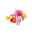 cartoon present gift box ribbon bow heap vector image vector image