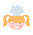 chef blonde girl face with hat cartoon character vector image
