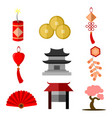 chinese culture simple icon graphic set vector image