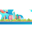 city landscape horizontal day banner vector image