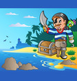 coast with young cartoon pirate 2 vector image vector image