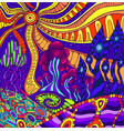 colorful doodle surreal landscape fantastic vector image