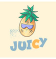 cool cute summer pineapple with sun glasses and vector image vector image