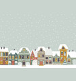 cute cartoon little town in christmas time vector image vector image