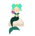 cute cartoon mermaid sitting on stone holding vector image vector image