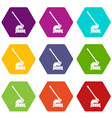 cutting machine icon set color hexahedron vector image vector image