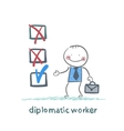 diplomatic worker puts a tick vector image vector image