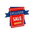 exclusive sale sign on bright rectangular vector image vector image
