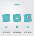 flat icons tower pyramid flag and other vector image vector image