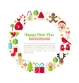 Flat Style Circle Template Collection of Happy New vector image