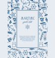 hand drawn marine template vector image vector image