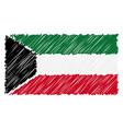 hand drawn national flag of kuwait isolated on a vector image vector image