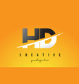 hd h d letter modern logo design with yellow vector image vector image
