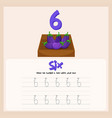 how to write number six worksheet vector image vector image