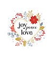 joy peace love merry christmas card with vector image