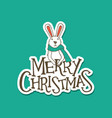 merry christmas lettering with a rabbit sticker vector image vector image