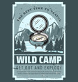 mountain trip wild nature camp adventure vector image vector image