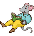 mouse with book vector image vector image