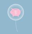 piggy bank in balloon vector image vector image