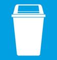 plastic flip lid bin icon white vector image vector image
